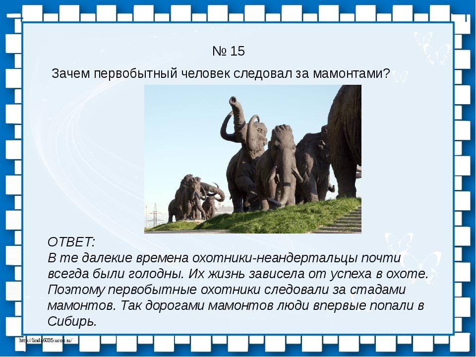 № 15 Зачем первобытный человек следовал за мамонтами? ОТВЕТ: В те далекие вре...