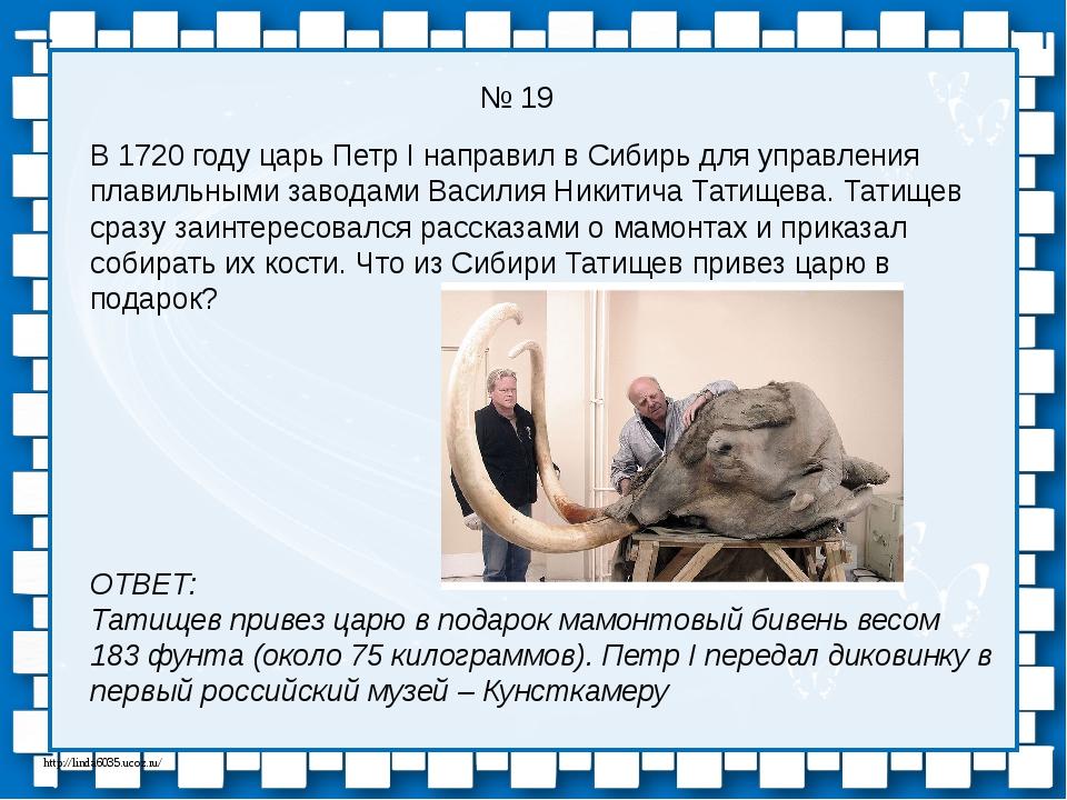 № 19 В 1720 году царь Петр I направил в Сибирь для управления плавильными зав...
