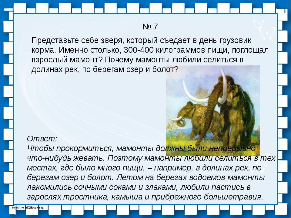 № 7 Ответ: Чтобы прокормиться, мамонты должны были непрерывно что-нибудь жева...