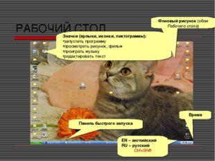 РАБОЧИЙ СТОЛ Значки (ярлыки, иконки, пиктограммы): запустить программу просмо