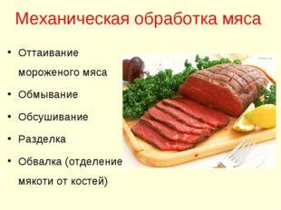 Механическая обработка мяса Оттаивание мороженого мяса Обмывание Обсушивание