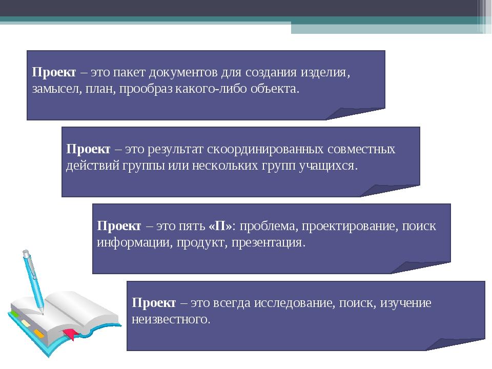 Проект – это пакет документов для создания изделия, замысел, план, прообраз к...