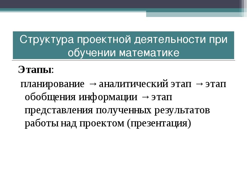 Этапы: планирование → аналитический этап → этап обобщения информации → этап п...