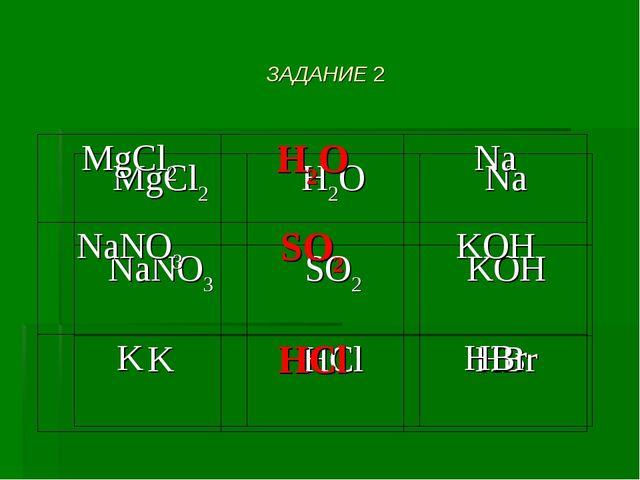 ЗАДАНИЕ 2 МgCl2H2ONa NaNO3SO2KOH KHClHBr МgCl2H2ONa NaNO3SO2KOH KH...