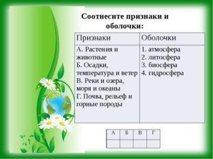 Соотнесите признаки и оболочки: Признаки Оболочки А.Растения и животные Б. Ос