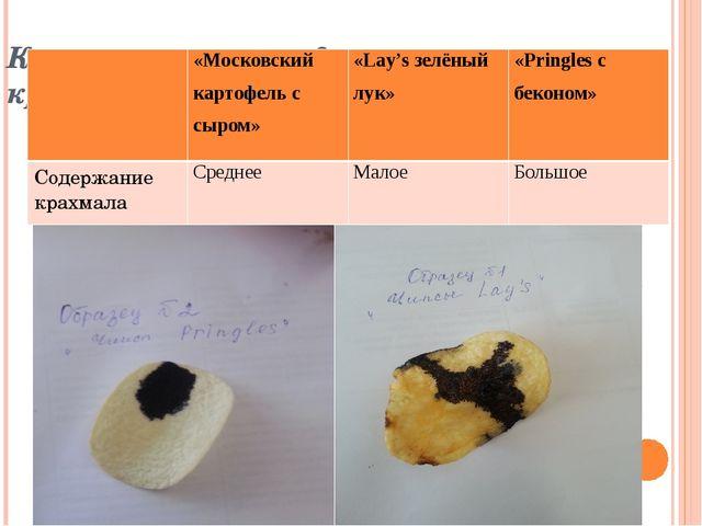Качественное определение крахмала «Московский картофель с сыром» «Lay'sзелё...