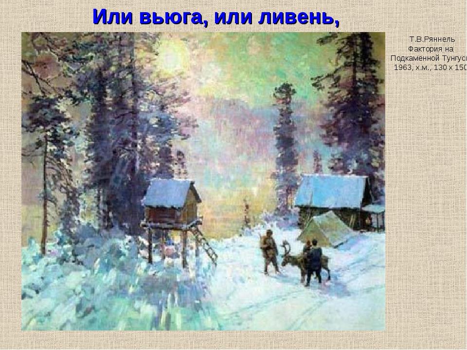 Т.В.Ряннель Фактория на Подкаменной Тунгуске 1963, х.м., 130 х 150 Или вьюга,...