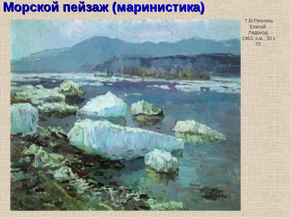 Морской пейзаж (маринистика) Т.В.Ряннель Енисей. Ледоход. 1963, к.м., 50 х 70