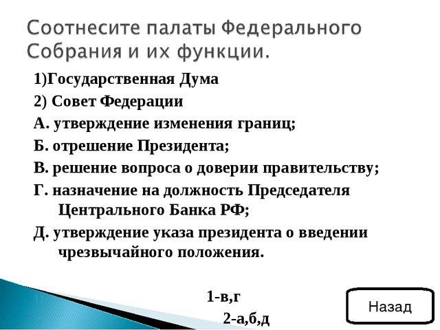 1)Государственная Дума 2) Совет Федерации А. утверждение изменения границ; Б....
