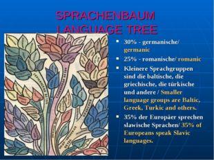 SPRACHENBAUM LANGUAGE TREE 30% - germanische/ germanic 25% - romanische/ roma