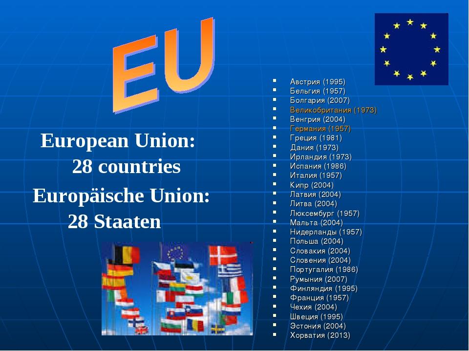 Австрия (1995) Бельгия (1957) Болгария (2007) Великобритания (1973) Венгрия (...