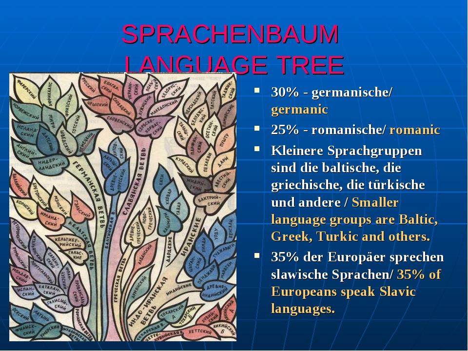 SPRACHENBAUM LANGUAGE TREE 30% - germanische/ germanic 25% - romanische/ roma...