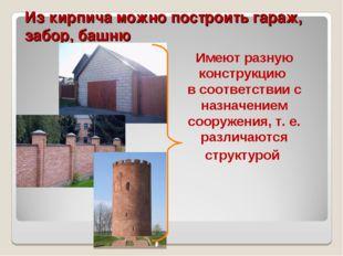 Из кирпича можно построить гараж, забор, башню Имеют разную конструкцию в соо