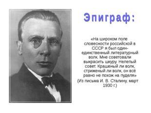 «На широком поле словесности российской в СССР я был один-единственный литер