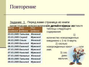 Повторение Задание 1 . Перед вами страница из книги регистрации новорожденных
