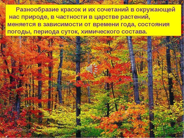 Разнообразие красок и их сочетаний в окружающей нас природе, в частности в ц...