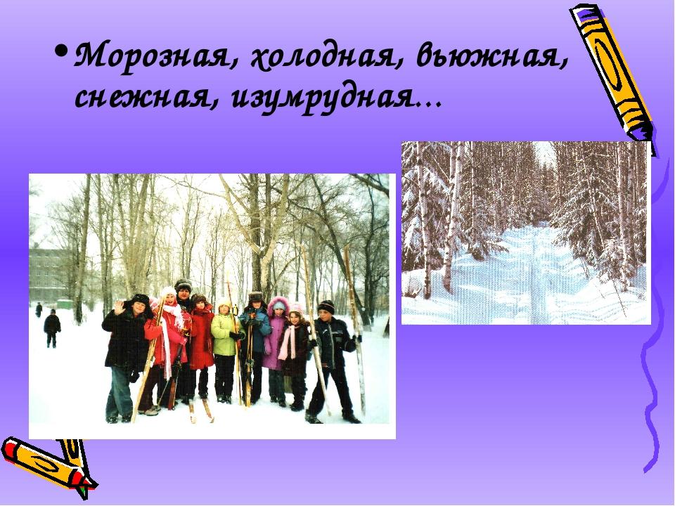 Морозная, холодная, вьюжная, снежная, изумрудная…