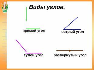 Виды углов. прямой угол острый угол тупой угол развернутый угол