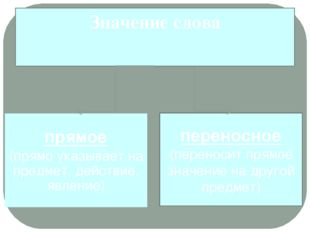 переносное (переносит прямое значение на другой предмет) прямое (прямо указыв