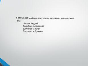 В 2015-2016 учебном году стали золотыми значкистами ГТО: Фокин Андрей Голубки