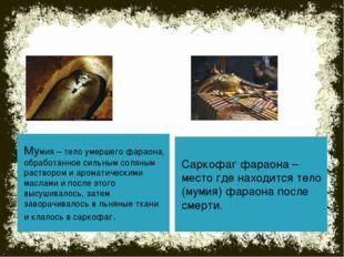 Мумия – тело умершего фараона, обработанное сильным соляным раствором и арома