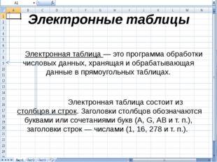 Электронные таблицы Электронная таблица — это программа обработки числовых да