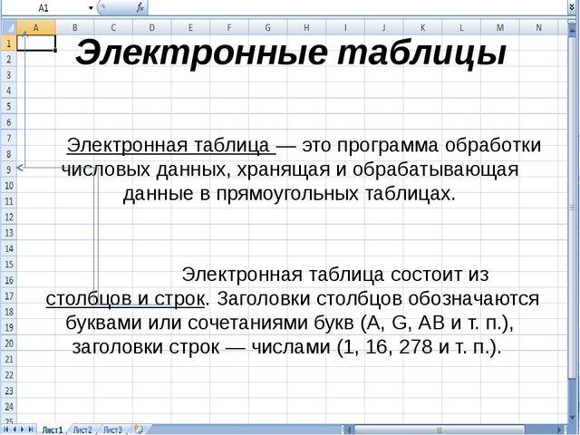 Электронные таблицы Электронная таблица — это программа обработки числовых да...