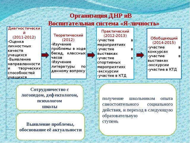 Организация ДНР иВ Воспитательная система «Я-личность» Диагностический (2011-...