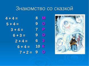 Знакомство со сказкой 4 + 4 = 5 + 4 = 3 + 4 = 6 + 3 = 2 + 4 = 6 + 4 = 7 + 2 =