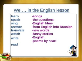 We … in the English lesson learn speak sing answer translate watch write read
