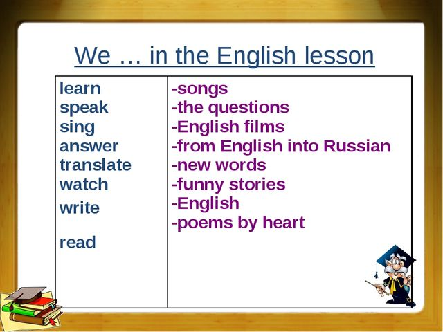 We … in the English lesson learn speak sing answer translate watch write read...