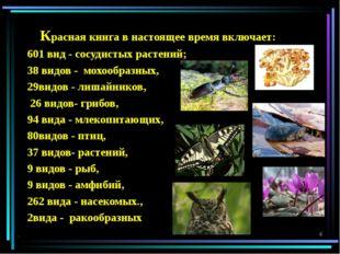Красная книга в настоящее время включает: 601 вид - сосудистых растений; 38