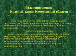 Млекопитающие Красной книги Кемеровской области Мир животных очень разнообраз