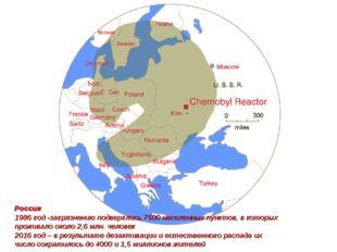 Россия 1986 год -загрязнению подверглись 7500 населенных пунктов, в которых п