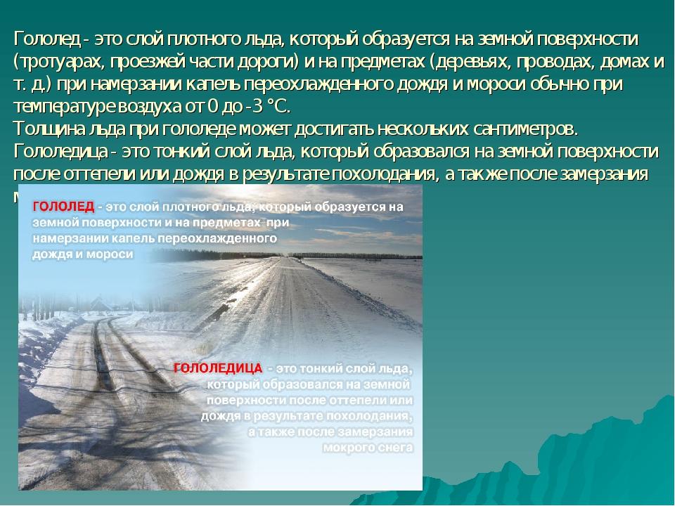 Гололед - это слой плотного льда, который образуется на земной поверхности (...
