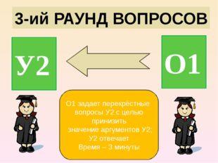 3-ий РАУНД ВОПРОСОВ У2 О1 О1 задает перекрёстные вопросы У2 с целью принизить