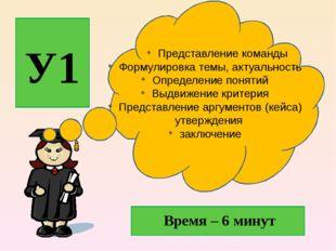 У1 Представление команды Формулировка темы, актуальность Определение понятий