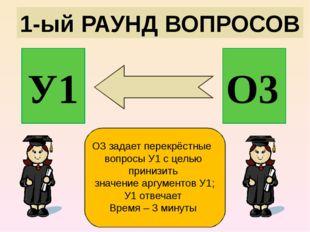 1-ый РАУНД ВОПРОСОВ У1 О3 О3 задает перекрёстные вопросы У1 с целью принизить