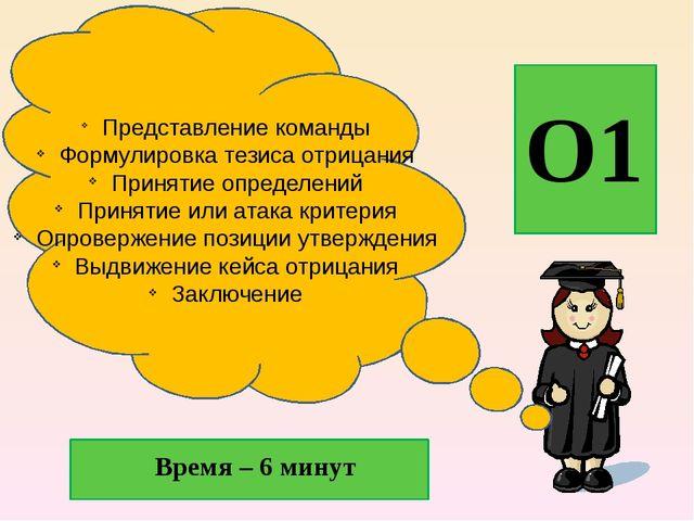 О1 Время – 6 минут Представление команды Формулировка тезиса отрицания Приня...