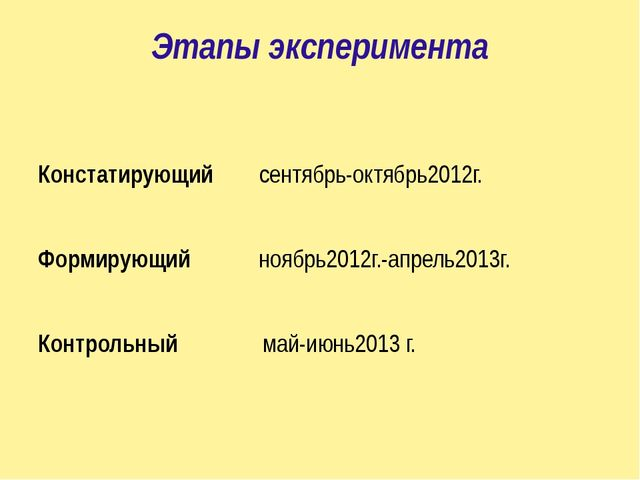 Этапы эксперимента Констатирующий сентябрь-октябрь2012г. Формирующий ноябрь20...
