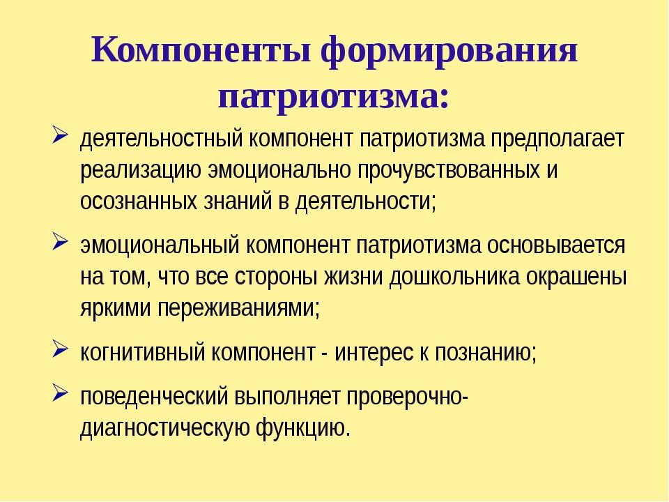 Компоненты формирования патриотизма: деятельностный компонент патриотизма пре...