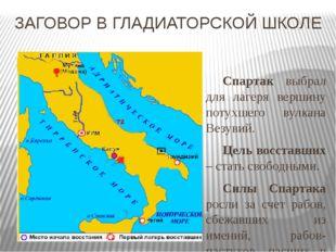 ЗАГОВОР В ГЛАДИАТОРСКОЙ ШКОЛЕ Спартак выбрал для лагеря вершину потухшего ву