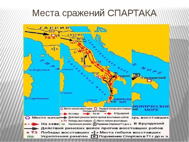 Места сражений СПАРТАКА