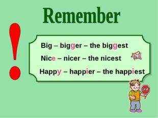 Happy – happier – the happiest Big – bigger – the biggest Nice – nicer – the