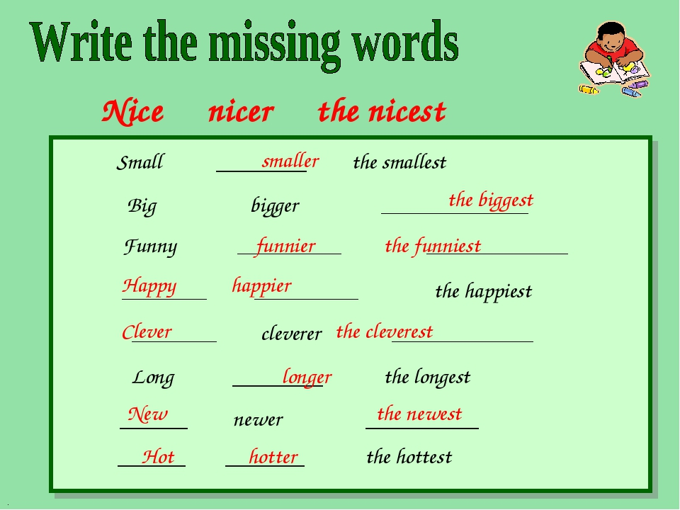 Nice nicer the nicest Small ________ the smallest Big bigger ______________ F...