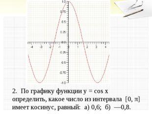2. По графику функции у = cos х определить, какое число из интервала [0, π]