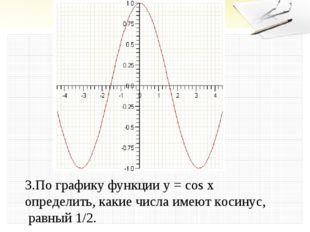 3.По графику функции у = cos x определить, какие числа имеют косинус, равный