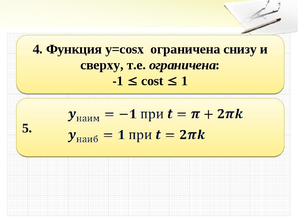 4. Функция y=cosx ограничена снизу и сверху, т.е. ограничена: -1  cost  1 5.