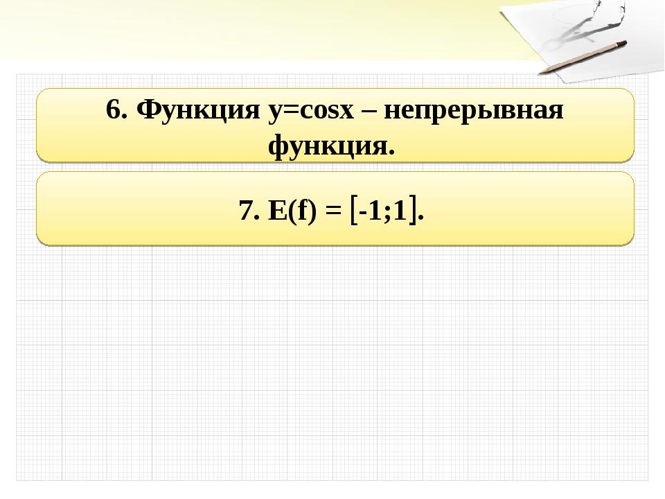 6. Функция y=cosx – непрерывная функция. 7. E(f) = -1;1.