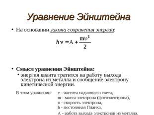 Уравнение Эйнштейна На основании закона сохранения энергии: Смысл уравнения Э